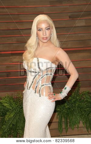 WEST HOLLYWOOD - MAR 2:: Lady Gaga at the 2014 Vanity Fair Oscar Party on March 2, 2014 in West Hollywood, California