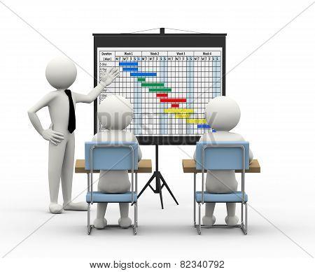 3D Businessman Presenting Gantt Chart