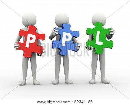 3D Man Puzzle Piece - Ppl