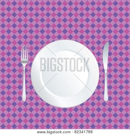 white plate on purple tablecloth