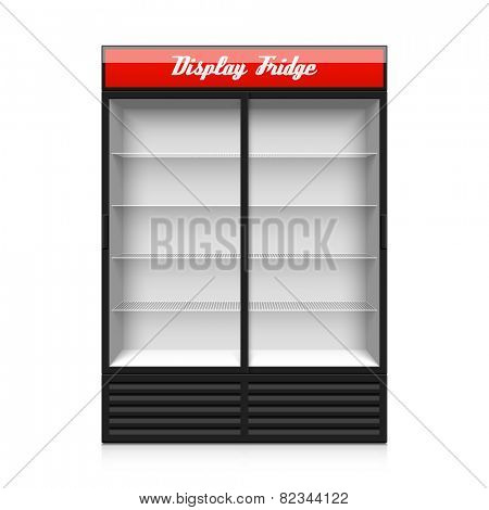 Upright double glass sliding door display fridge. Vector.