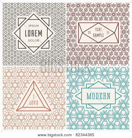 Graphic Design Templates for Logo, Labels and Badges. Abstract Line Patterns Backgrounds.