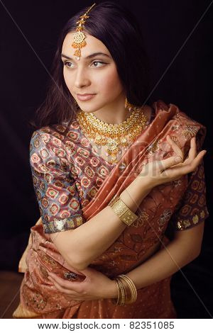 beauty sweet real indian girl in sari smiling