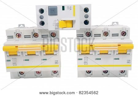 Automatic circuit breaker isolated on a white background poster