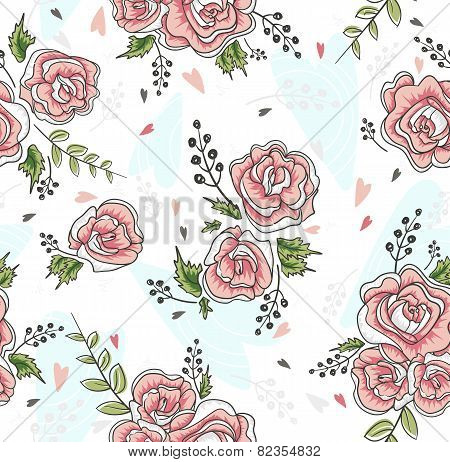 Cute Seamless Vintage Rose Pattern. Background With Flowers And Hearts.