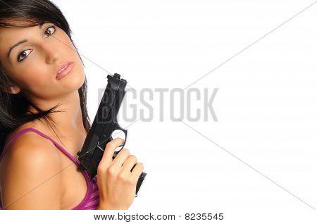 Attracive Woman With Gun