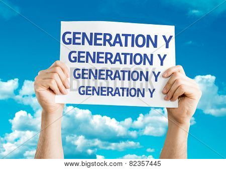 Generation Y card with sky background