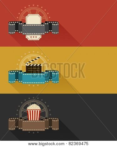 Retro movie theater posters flat design. Eps10 vector illustration. Isolated on white background