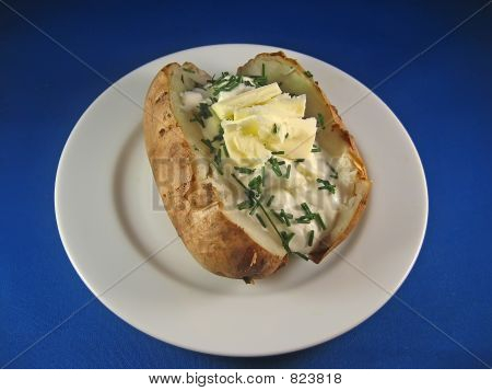 Baked Potato with Sour Cream, Butter and Chives