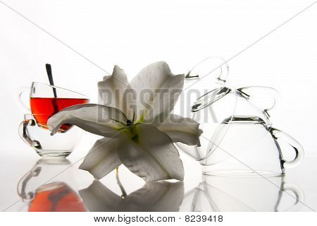 5 Tea Cups And Flower
