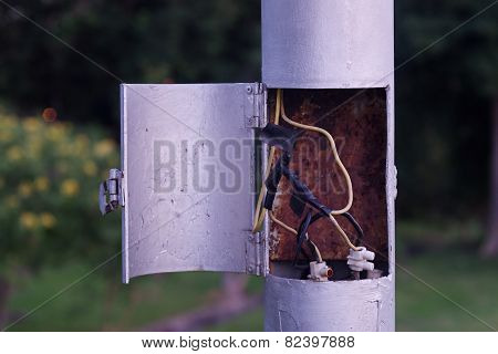 electric wire in pole