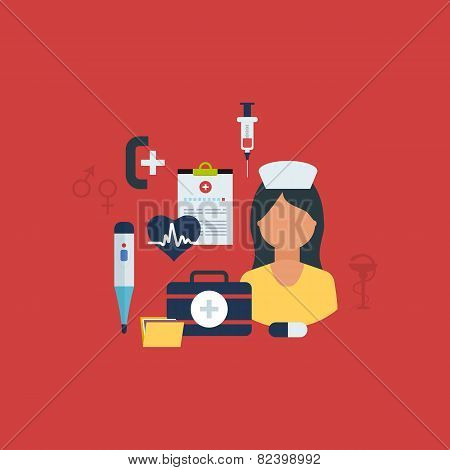 Flat health care and medical research background. Healthcare system concept. Nurse and medical tools icons poster