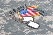 US ARMY airborne tab with blank dog tags on camouflage uniform poster