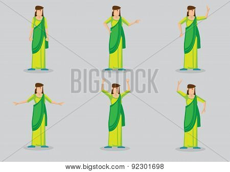Indian Woman Wearing Sari Vector Character Illustration