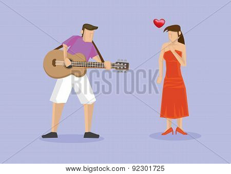 Playing Music On Guitar To Girlfriend