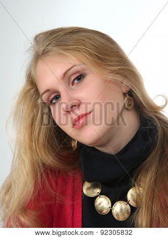 beautiful girl with gold bead