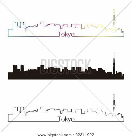 Tokyo V2 Skyline Linear Style With Rainbow