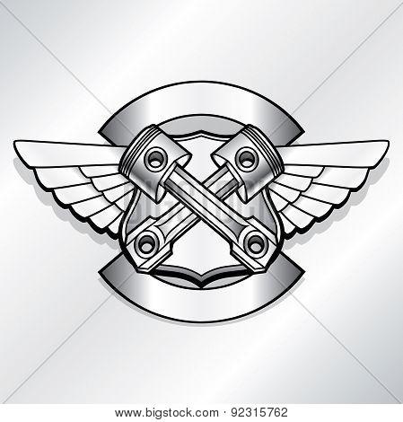 Vector biker logo illustration. Motor club piston vintage steel labels. Racer insignia.