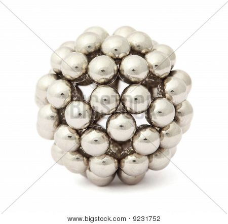 Ball Of Metal Segment Assembled From Neocube Isolated On White