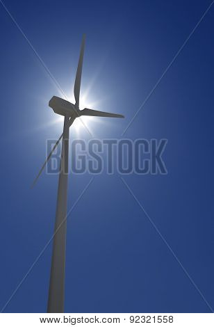 Wind Turbine Over Sun Shine