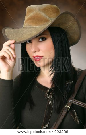 Beautiful Cowgirl Wearing Hat