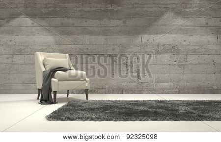 Minimalist monochromatic living room interior with grey decor and a single armchair standing on a rug in front of a cement brick wall with copyspace. 3d Rendering.