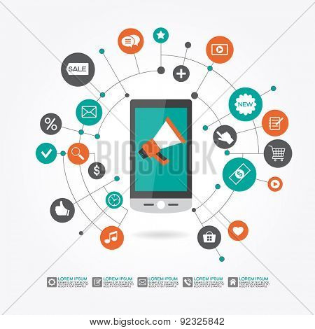Marketing  promotion concept. Smartphone, megaphone surrounded icons. File is saved in AI10 EPS version. This illustration contains a transparency
