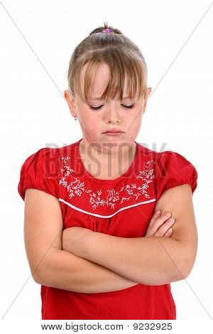 Small girl crying with arms crossed isolated on white