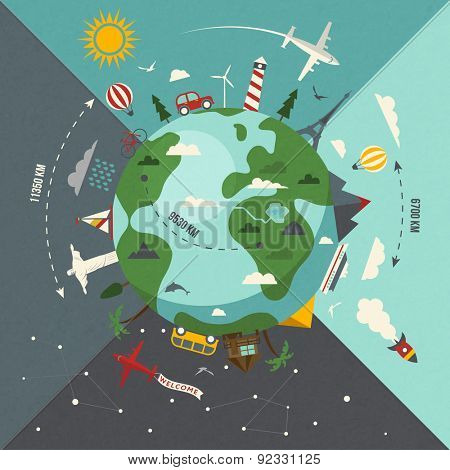 Around the world travel illustration