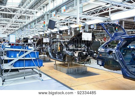 Skoda Octavia On Conveyor Line In Factory
