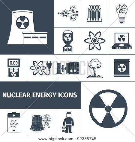 Nuclear energy icons set black