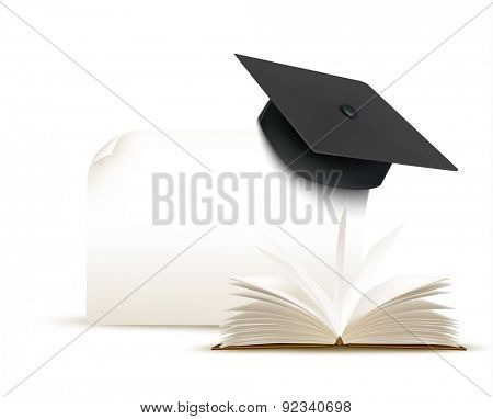 Graduation cap on white background with a book.