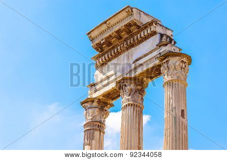 Temple Of Castor And Pollux In Rome, Italy