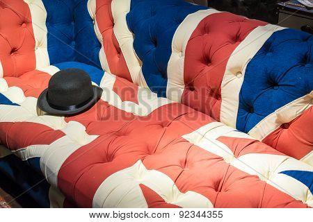 Union Jack Flag English Sofa And Bowler Hat
