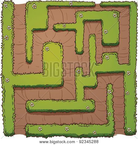 Cartoon hedge maze. Vector clip art illustration with simple gradients. Flowers and maze on separate layer.