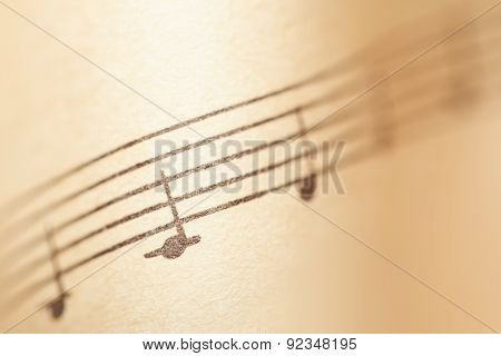 Music Notes On Paper. Fragment Of The A Minor Gamut.
