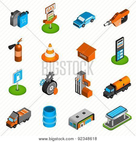 Gas station elements isometric icons