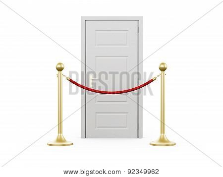 Golden Stanchion And Closed Door