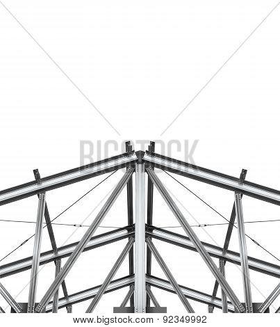 Build Roof. Fragment Metal Framework On A White Background.