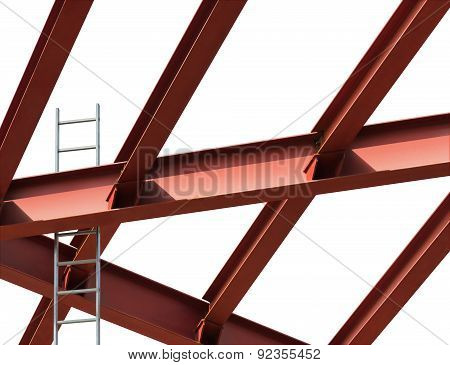 Construction Site. Steel Beams And Ladder On A White Background.
