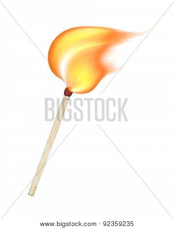 Burning Match On A White Background