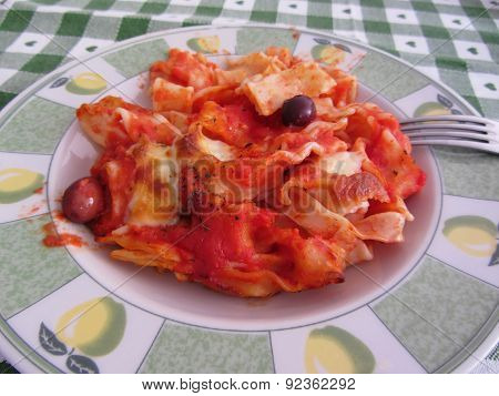 Plate Of Home Made Baked Pasta