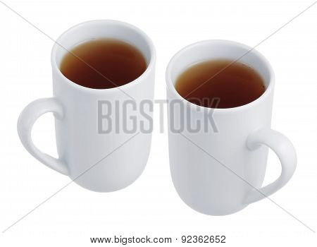 Two Cups Of Tea On A White Background