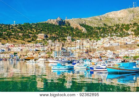 Colorful boats in port on Greek Island, Greece