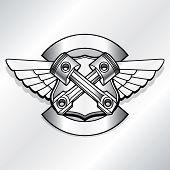 Vector biker logo illustration. Motor club piston vintage steel labels. Racer insignia poster