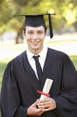 Male Student Attending Graduation Ceremony poster