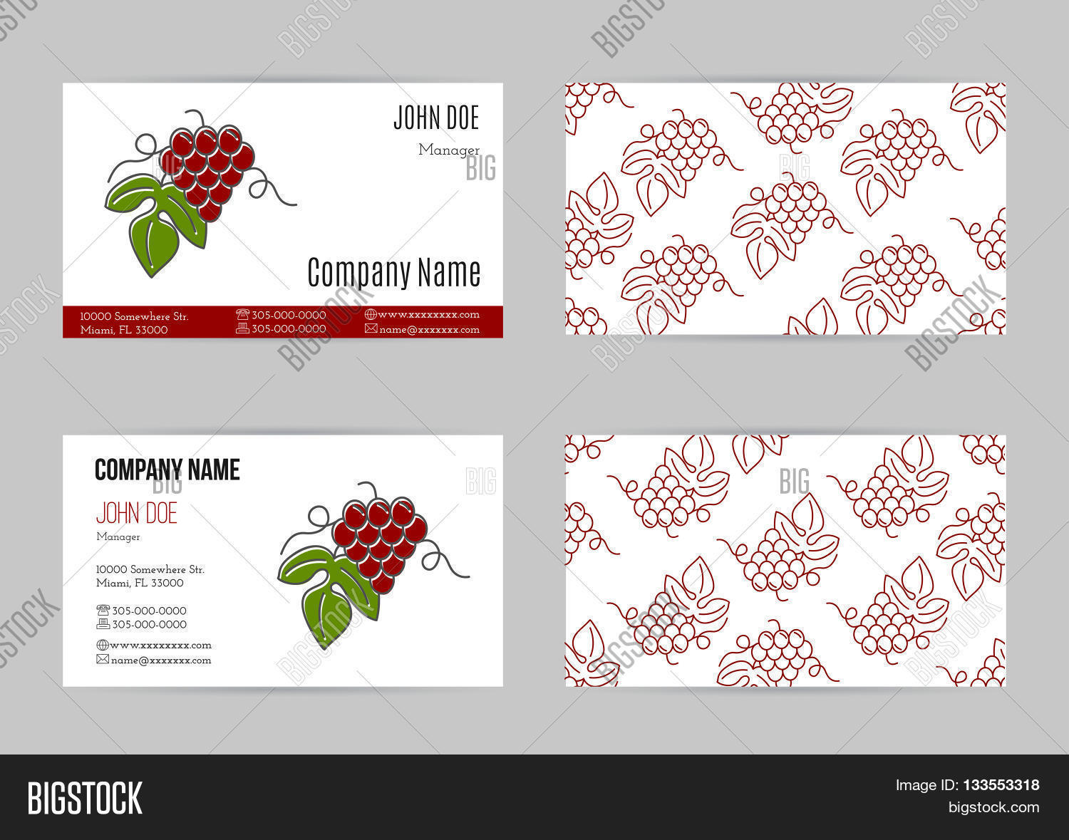 Set business cards vector photo free trial bigstock set of business cards with grapes business card template with logo for restaurant cafe reheart Image collections