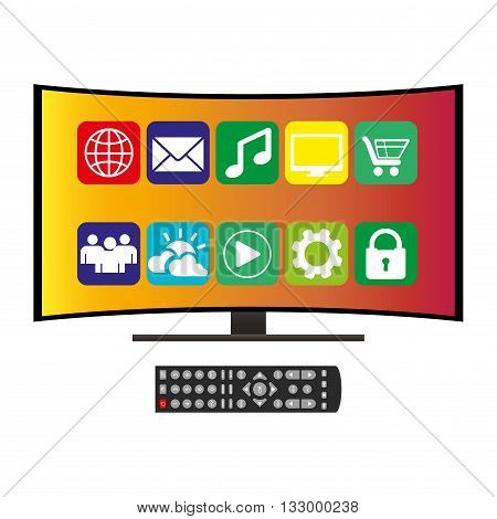 remote control and curved ultra HD TV flat vector illustration on white
