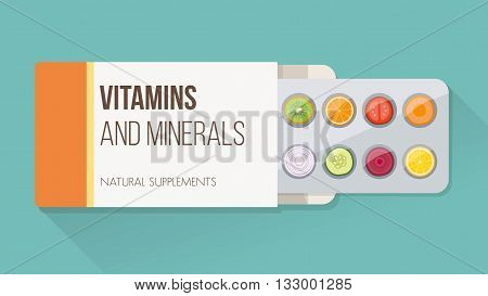 Slices of vegetables and fruit in a drug blister packaging and open box natural supplements and vitamins concept
