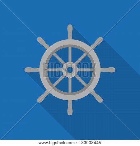 ship wheel icon, metal wheel illustration vector, nautical sign, flat design